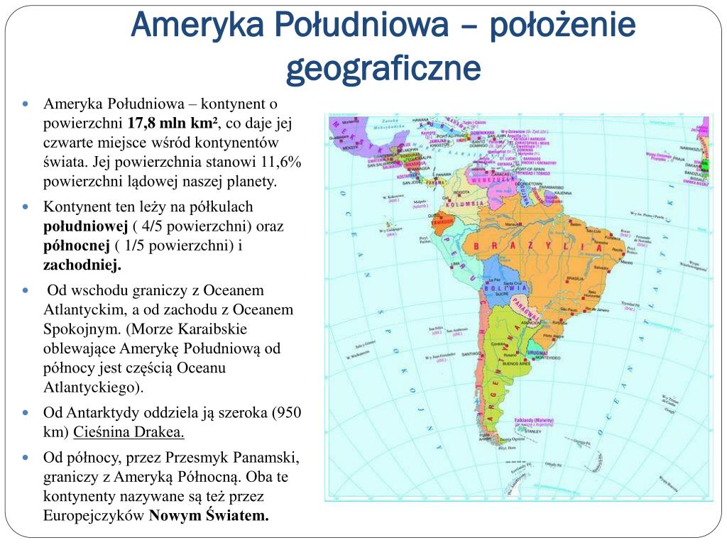 Ameryka Południowa – położenie geograficzne