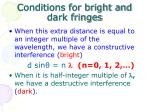 conditions for bright and dark fringes
