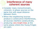 interference of many coherent sources