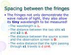 spacing between the fringes