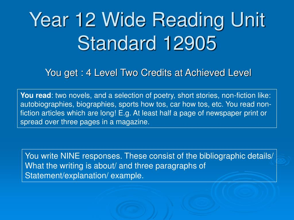 year 12 wide reading unit standard 12905 l.