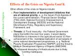 effects of the crisis on nigeria cont d