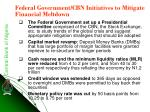 federal government cbn initiatives to mitigate financial meltdown
