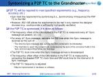 syntonizing a p2p tc to the grandmaster