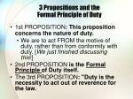 3 propositions and the formal principle of duty