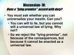 discussion iv does a lying promise accord with duty