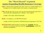 the moral hazard argument against expanding health insurance coverage36