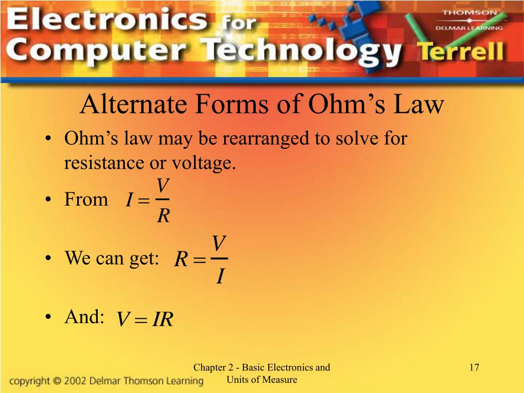 Alternate Forms of Ohm's Law