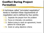 conflict during project formation24