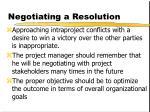 negotiating a resolution