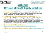 omhphp division of health equity initiatives