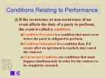 conditions relating to performance