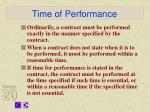time of performance