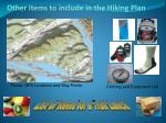 other items to include in the hiking plan