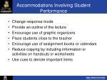 accommodations involving student performance