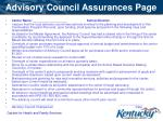 advisory council assurances page
