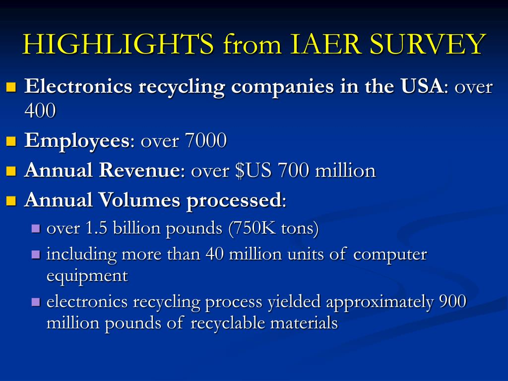 HIGHLIGHTS from IAER SURVEY