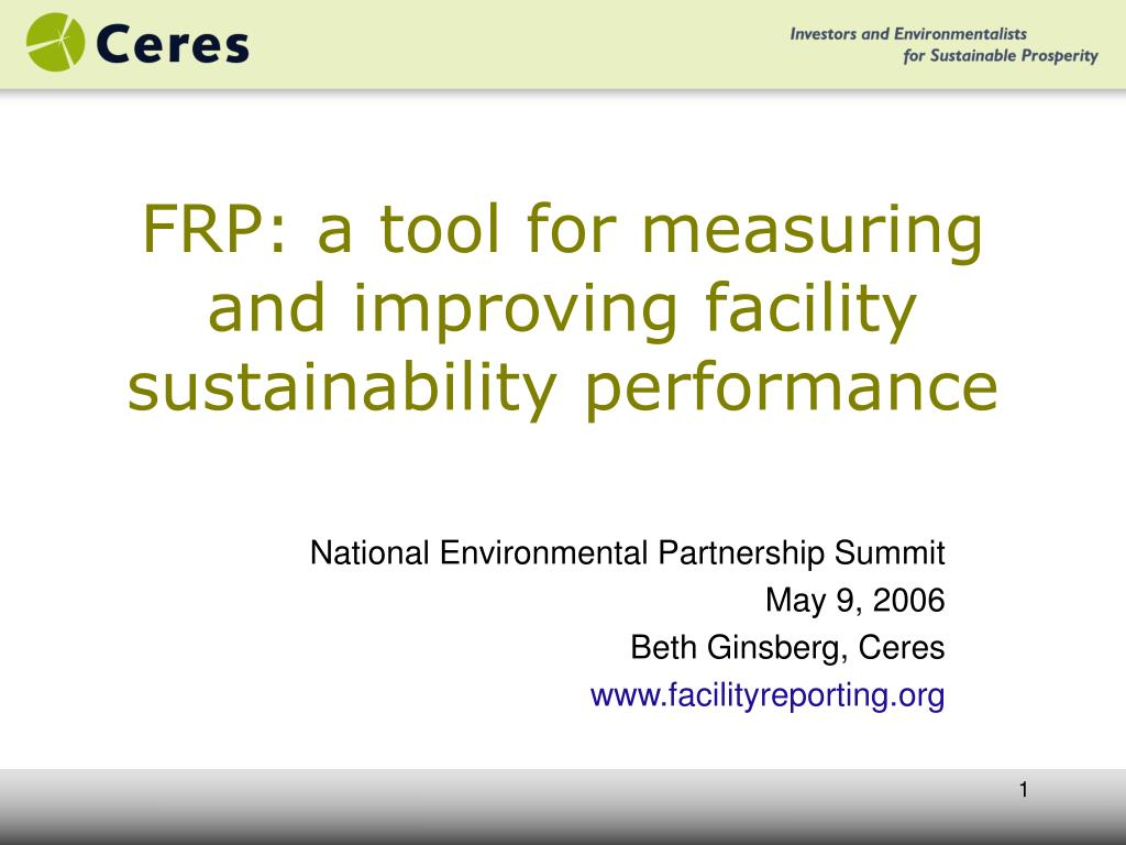 frp a tool for measuring and improving facility sustainability performance l.
