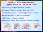 where to find differentiation opportunities in the value chain