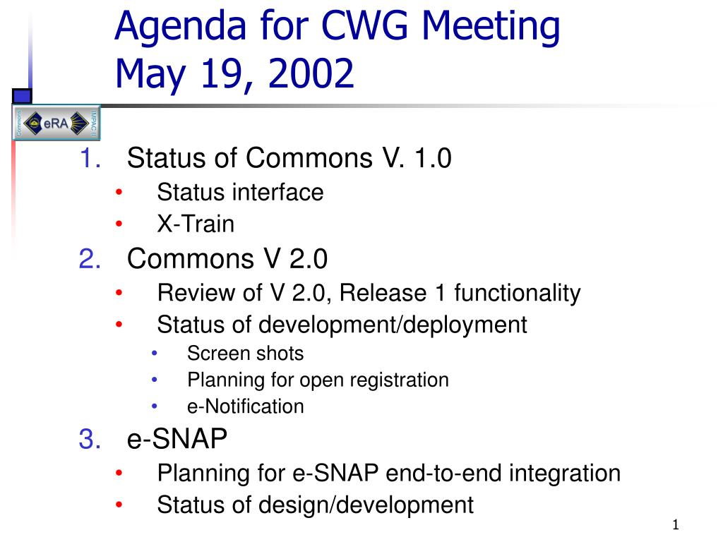 agenda for cwg meeting may 19 2002 l.