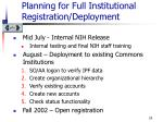 planning for full institutional registration deployment