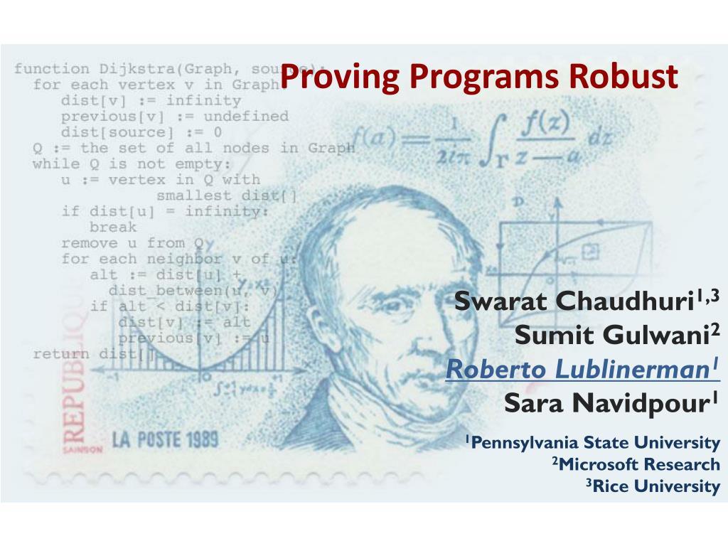 proving programs robust l.