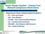 green square symbol exempt from wetland compliance restrictions