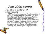 june 2008 summit