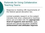 rationale for using collaborative teaching teams