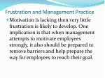 frustration and management practice