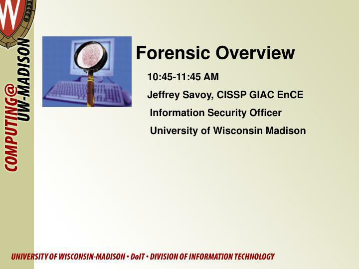 forensic overview n.