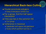 hierarchical back face culling