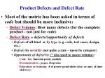product defects and defect rate