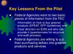 key lessons from the pilot