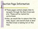 section page information