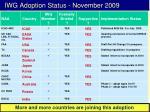 iwg adoption status november 2009