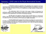 summary icao letter to the royal aeronautical society
