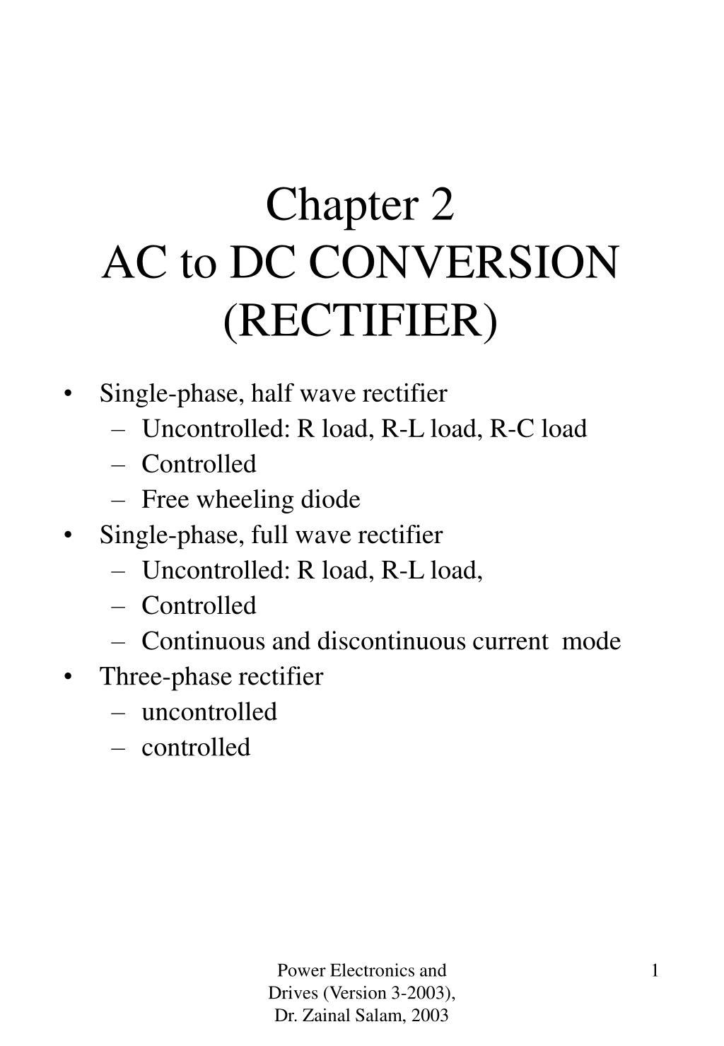 chapter 2 ac to dc conversion rectifier l.