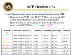 ace occultations