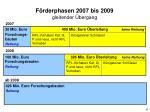 f rderphasen 2007 bis 2009 gleitender bergang