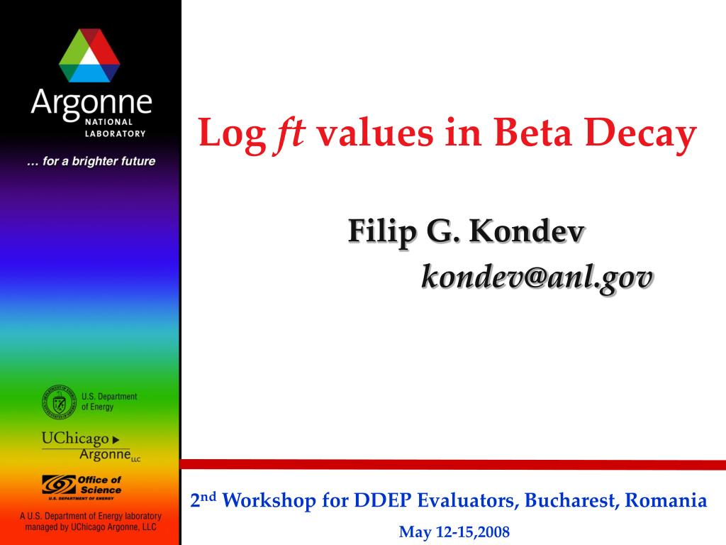 log ft values in beta decay l.
