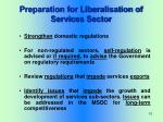 preparation for liberalisation of services sector