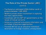 the role of the private sector jbc cont d