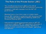 the role of the private sector jbc