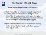 verification of leak tags5