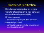 transfer of certification