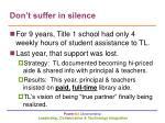 don t suffer in silence