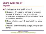 share evidence of impact