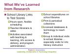 what we ve learned from research