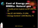 cost of energy per mmbtu natural gas